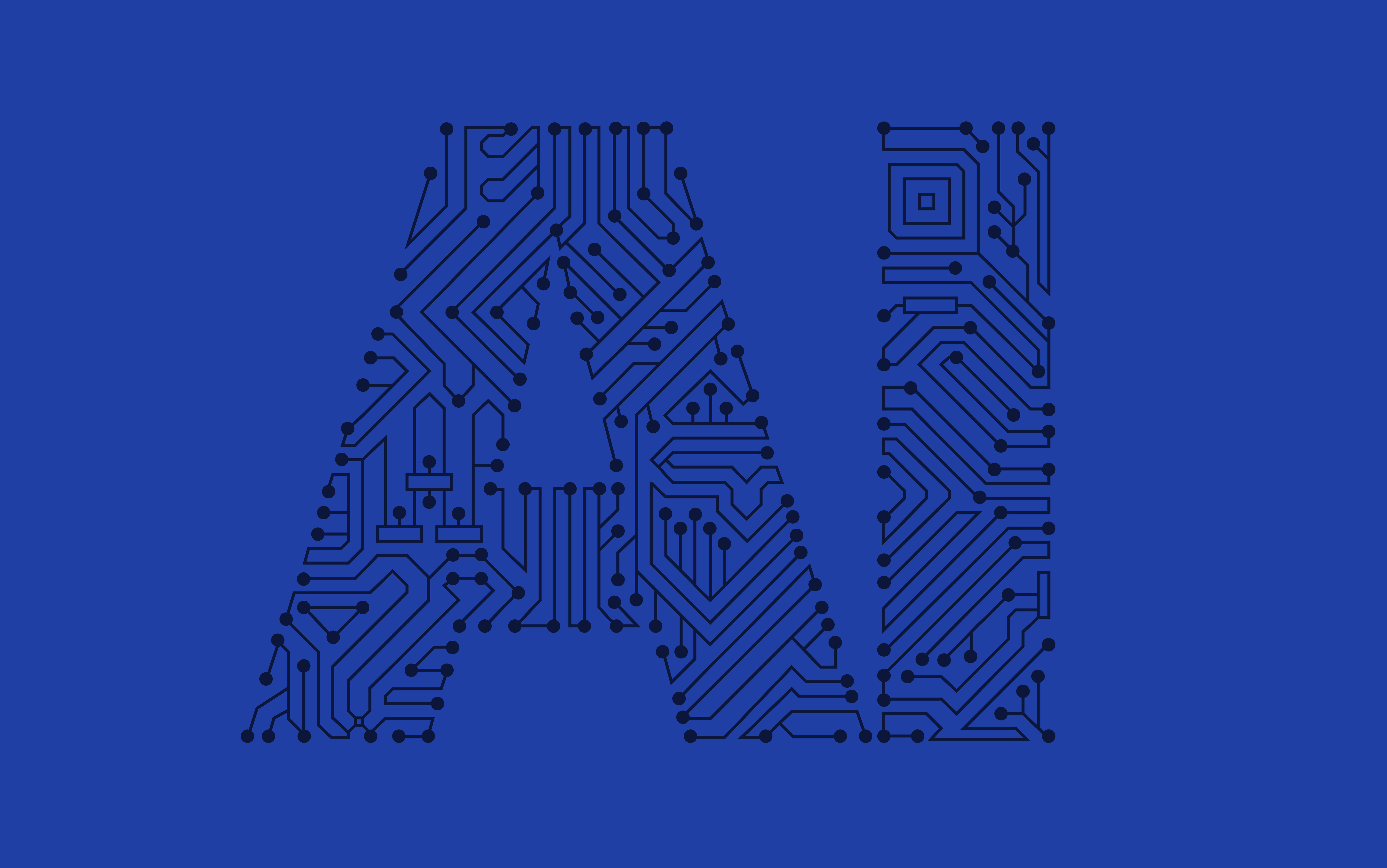 Criminal Justice AI - Image a blue background with AI written on it