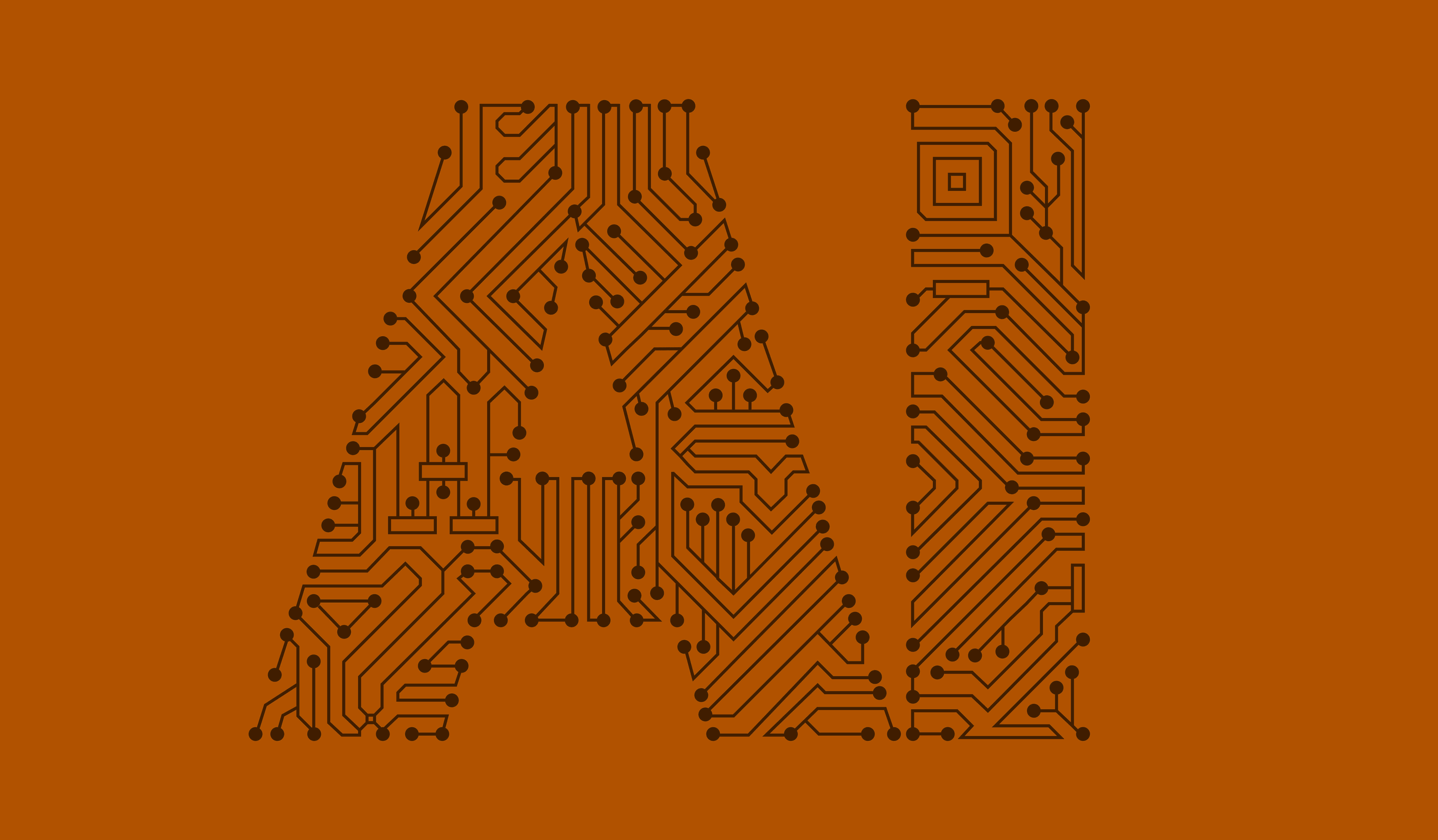 Banner image orange backgound with AI written on it